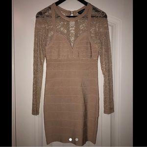 Nude lace sleeve dress.